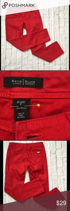 WHBM Slim Ankle Red Size 2 Jeans Waist 15 Rise 7.5 Inseam 28.5. White House Black Market Jeans Ankle & Cropped