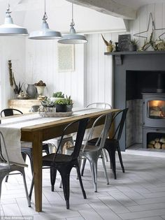 Modern Farmhouse Dining Room Design And Decor Ideas Farmhouse Dining Room Table, Kitchen Chairs, Room Chairs, Dining Chairs, Lounge Chairs, Table Stools, Bistro Chairs, Wood Table, Dining Area