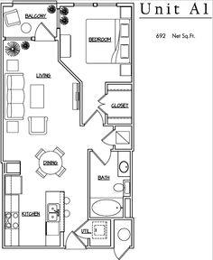 Unit A1 - 1 BR, 1BA - 692 Net Sq.Ft.