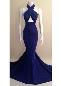 Fabulous Halter Design Royal Blue Long Mermaid Dress