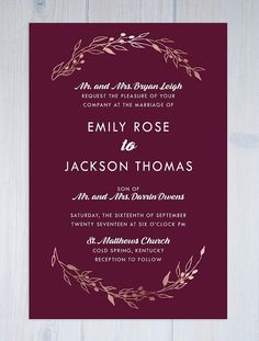 Burgundy and rose gold are trending to be a hot color combination for fall. This simple, yet elegant wedding invitation set combines the two, with the invitation showcasing a bold burgundy wine color and the laurel wreath pieces showcasing a rose gold feel. This warm and lovely wedding invite suite can be customized in any color combo to better suite your big day, all of my pieces have a designer look at a discount price.  Choose from invitations (with envelopes) only, or a set from the drop…