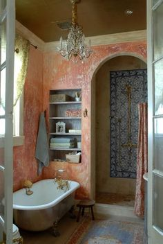 The perfect bohemian bathroom, but I'd change the colour from this weird pink/peach