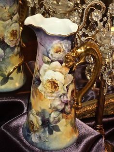 Breathtaking Limoges Signed Purple and Yellow Tankard White Roses with Dragon Handle