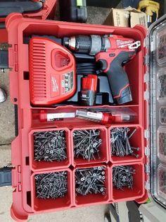 Van Storage, Trailer Storage, Tool Storage, Toolbox Ideas, Milwaukee Power Tools, Hinge And Bracket, Building A Cabin, Garage Addition, Work Tools