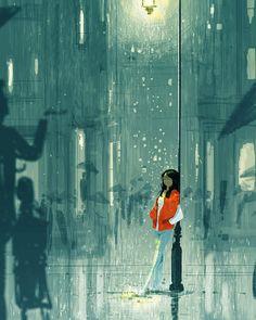 Rainy season by Pascal Campion Yuumei Art, Stock Design, Pascal Campion, Rainy Season, Illustrations, Pretty Art, Vincent Van Gogh, Belle Photo, Digital Illustration