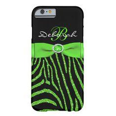 Monogram Lime, Black Glitter Zebra iPhone 6 case #zazzle #leatherwooddesign