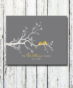 Personalized Custom Love Bird Family Tree Branch, Family Names and Date,Housewarming Gift, Wall Art Print 8 x 10 Custom colors and fonts Cuadros Diy, Cricut Wedding, Family Tree Wall, Pallet Art, Art Graphique, Home And Deco, Tree Art, Love Birds, Tree Branches