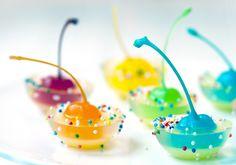 Rainbow Cherry Jigglers! #jelloshot http://www.yummly.com/blog/2012/12/10-bright-and-boozy-jello-shots/