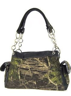 Camouflage Satchel Purse Black Trim Camo Chain Straps * Want additional info? Click on the image.