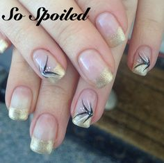 Bio Sculpture Gel Nail Art & Design - gold French tip with black and white accents. End of Winter!!! January 2014 Featured Gels: #3 Snow White, #2017 Liquorice & #168 Gilded Reflection