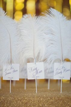 Feather Escort Cards | http://Weddingbells.ca