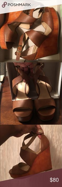 Lucky Brand Women Wedge Heel Shoes Brand New all leather 3 inch wedge high heel with crisscrossing strap and logo name brand on metal bucket with comfortable adjustable strap. Lucky Brand Shoes Wedges
