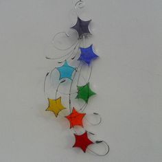Stained Glass Chakra Suncatcher, Stars & Swirls