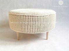 Crochet pouf, crochet footstool, round pouf, knitted pouf, knitted footstool, pouf, footstool, table model PARIS by RNArtDesign on Etsy https://www.etsy.com/listing/208713504/crochet-pouf-crochet-footstool-round
