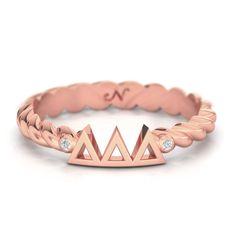 Delta Delta Delta Rose Gold Pavé Twist Letter Ring #delta-delta-delta #rings #rose-gold-plate