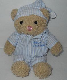 "Babys First Bear Blue Stripe Pajamas Tan Sherpa Pink Nose Just Friends 8"" 1999 #JustFriends"