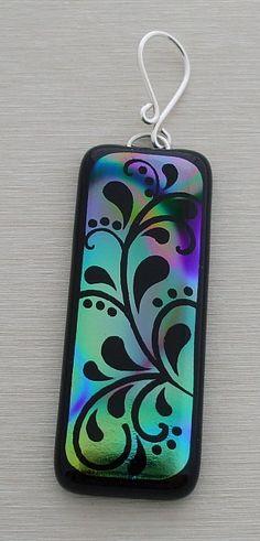 Flourish Pendant Dichroic Fused Glass 0687 - Dichroic Pendant - Fused Glass Pendant - Glass pendant. $24.00, via Etsy.