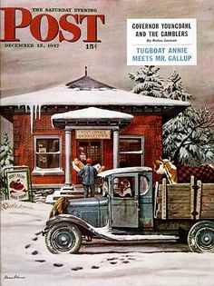 "The Saturday Evening Post ©December 13, 1947 * Cover artwork is ""Rural Post Office at Christmas"", an illustration by Stevan Dohanos."