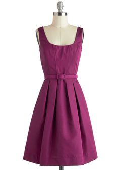 Either Orchid Dress - Purple, Solid, Pleats, Pockets, Belted, Party, A-line, Sleeveless, Vintage Inspired, 50s