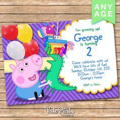 PEPPA PIG Invitation, Party Invitation, Digital Invite, Printable File, Peppa Purple Card VP-015