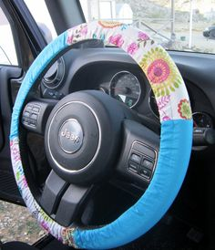 Vibrant Floral Steering Wheel Cover on Etsy, $12.00