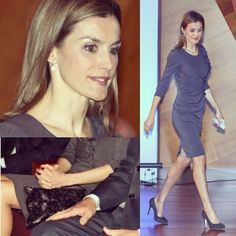 30 de enero, la Reina Letizia llevaba un vestido de lana prensada, de manga francesa y drapeado con volantes en la parte lateral, de Felipe Varela. Como complementos, salones en ante de Magrit, una cartera negra de Uterque y los pendientes de Links of London.  For January 30th, Queen Letizia wore a pressed wool, with French sleeves and with ruffles and draping on the side by Felipe Varela, Magrit's shoes, a black Uterque handbag, in cow gray snake print, and Links of London's earrings.