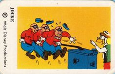 Another Beagle Boys card of Gyro Gearloose stopping the Beagle Boys.