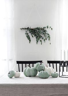 Pastel green, white and black modern fall Halloween decor Pumpkin Farm, Green Pumpkin, Pumpkin Crafts, Martha Stewart Paint, Americana Paint, Happy Halloween, Fall Halloween, Shaker Furniture, Autumn Theme