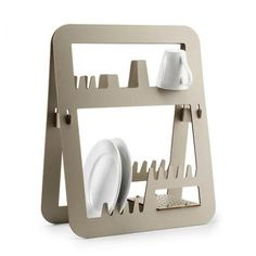 Designed by Barcelona-based Ernest Perera for Delica, the Aurea is a solid, space-saving dish rack for drying out your kitchen dishes. I love the simple, stylish design of this melamine resin drainer,. Regal Design, 3d Design, Rack Design, Tool Design, Modern Design, Graphic Design, Dish Drainers, Cnc Projects, Woodworking Projects