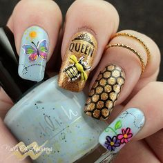 Products Used: Pahlish Ophelia, Pahlish Fields of Gold, Clear Jelly Stamper… Spring Nail Art, Spring Nails, Art Deco Nails, Bee Nails, Animal Nail Art, Jelly Nails, Nail Stamping Plates, Best Nail Art Designs, Cute Nail Art