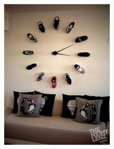 I wana do this for Hubby but instead if the sneakers I'd use all his flat bills (hats)((: freakn cool