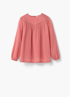 Cotton fabric Textured fabric Metallic thread detail Gathered detail on the front Rounded neck Long sleeve with elastic cuffs Button fastening on the back section Kid United, Little Girl Outfits, Baby Sewing, Shirts For Girls, Mango, Cotton Fabric, Bell Sleeve Top, Texture, Long Sleeve