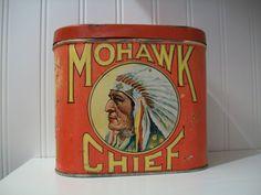 vintage tins | ... Tins Mohawk Chief Cigar Tin – Antique Tobacco Tins & Collectibles