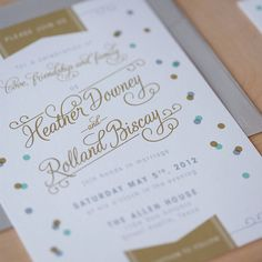 Confetti Wedding Invitation, Vintage Modern,  Modern invitation, Jubilee invitation - Confetti and flags