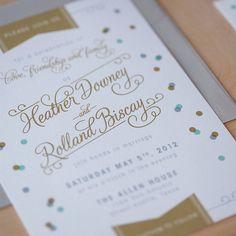 Modern Wedding Invitation, Vintage Modern, Confetti invitation, Jubilee invitation, - Confetti and flags via Etsy