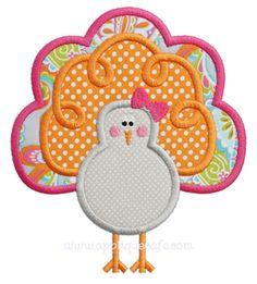 NEW! Girly Turkey Applique Design