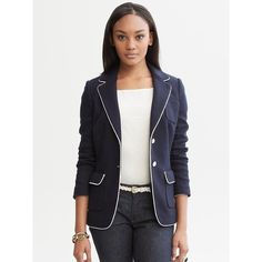 Banana Republic Piped Blazer - True navy ($50) ❤ liked on Polyvore featuring outerwear, jackets, blazers, banana republic blazer, long sleeve jacket, blazer jacket, wool-blend jacket and navy blue blazer