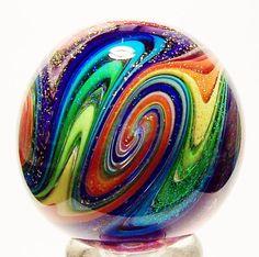 "EDDIE SEESE ART GLASS MARBLES 1-3/4"" RAINBOW DICHROIC TETRISPHERE MARBLE | eBay"