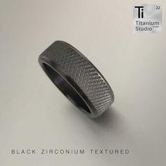 Black Zirconium men's ring with textured centre. Box Braids Styling, Titanium Rings, Braid Styles, Black Men, Wedding Bands, Centre, Rings For Men, Jewelry, Men Rings