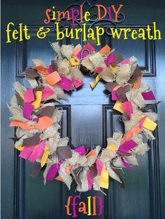 easy DIY fall autumn felt & burlap wreath instructions