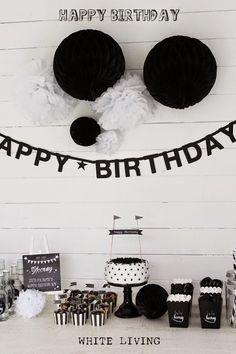 White Living: Happy Birthday - Happy Christmas - Noel 2020 ideas-Happy New Year-Christmas New Birthday Cake, Happy Birthday, 18th Birthday Party, Birthday Diy, Birthday Gifts, Birthday Ideas, Anniversary Decorations, Birthday Decorations, Festa All Black