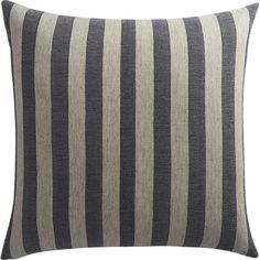 """<span class=""""copyHeader"""">cozy style.</span>The grey/navy stripes pillow was designed exclusively for CB2 in collaboration with The Hill-Side. Brooklyn-based menswear designers, and brothers, Emil and Sandy Corsillo are known for high-quality workwear fabrics and patterns with a hint of heritage. Together with their unmistakable urban aesthetic, the duo creates a fresh vibe that's somehow both equally hip and timeless. Washed out workwear-inspired stripes get a modern makeover on thisextra…"""