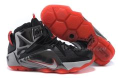 newest collection c50cc 1ce47 LeBron 12 Court Vision Black Bright Crimson White Silver 707781 016 Nike  Lebron, Nike Kyrie