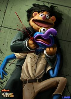 No Country For Old Muppets, A Gruesome Illustration of Fozzie Bear Strangling Gonzo by Dan LuVisi Childhood Characters, Childhood Photos, Cartoon Characters, Childhood Ruined, Old Muppets, Jim Henson, Illustrator, Images Disney, Popular Cartoons