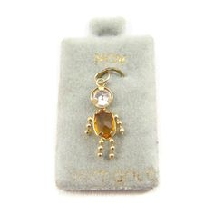 Vintage14Kt Gold Kids Birthstone Charm Boy November Bezel Set Faux Topaz Citrine Gemstone Vintage charm or pendant for little boys, moms,