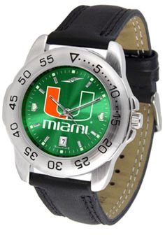 Miami Hurricanes Sport AnoChrome Men's Watch with Leather Band