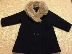 Girl Size 2T 24 M Charabia Navy Blue Wool Coat Baby Jacket France Faux Fur Paris | eBay