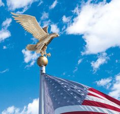 """Large Flagpole Eagle: What better way to show your patriotic pride while adding curb appeal to your home! Your flagpole eagle will stand up to all types of weather with it's durable finish and rust-free recycled aluminum construction. This flagpole topper is 15"""" wide x 19"""" high and recommended for poles 20 feet or taller."""