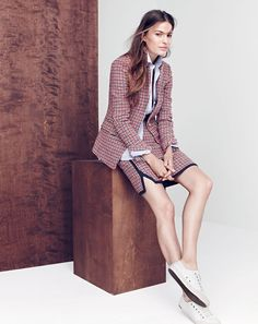 J.Crew women's Regent blazer in red houndstooth plaid, favorite shirt in end-on-end, double-notch mini skirt in red houndstooth plaid and SeaVees® for J.Crew 06/67 Monterey sneakers in white leather.