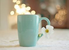 blue mug with flower :) #springtime